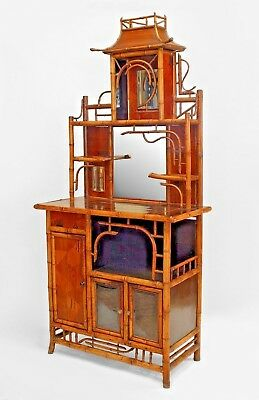 Bamboo and Inlaid Etagere with Pagoda Top
