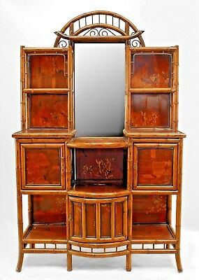 English Victorian bamboo and lacquer trimmed inlaid bow front etagere with door