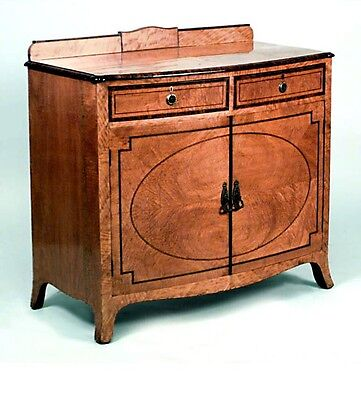 English Adam style (19th Cent) satinwood and rosewood trimmed 2 door commode wit