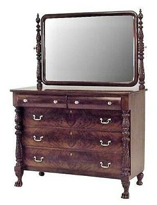 American Empire Mahogany Chest of Drawers with Carved Pineapple Finials & Sides