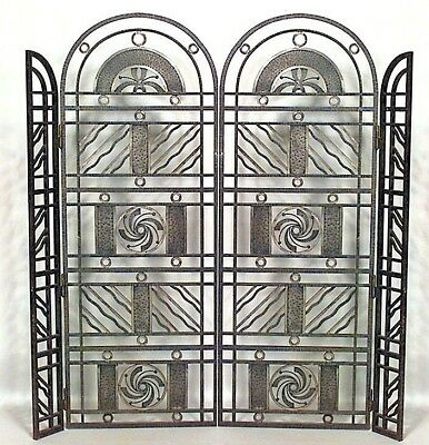French Art Deco Wrought Iron Filigree Design 4 Panel Gate (att: EDGAR BRANDT)