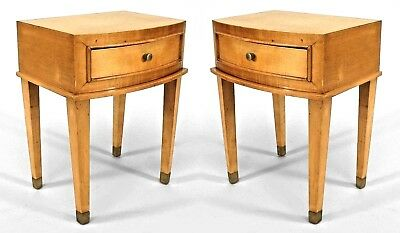Pair of French 1940s Low Sycamore End Tables with Drawer and Bronze Sabot Feet