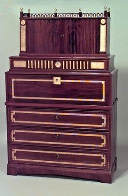 North European Neoclassic Brass Mounted Mahogany Secretaire