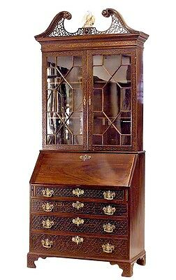 English Chinese Chippendale Style (19th Cent) Mahogany Lattice Design Secretary