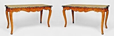 Pair of French Provincial Louis XV Style Stripped Oak Console Tables