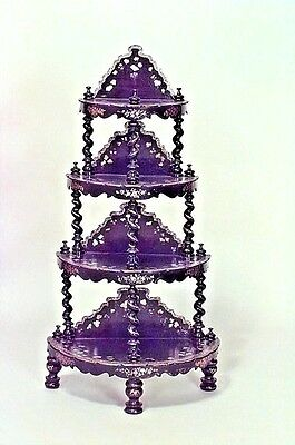 English Victorian Papier Mache Pearl Inlaid Black Lacquered 4 Tier Etagere