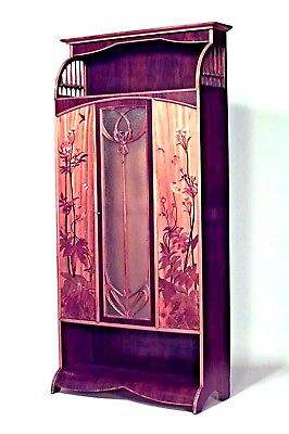 French Art Nouveau walnut and inlaid floral design 3 door armoire cabinet with s