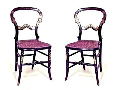 Pair of English Victorian Papier Mache and Pearl Inlaid Black Lacquer Side Chair