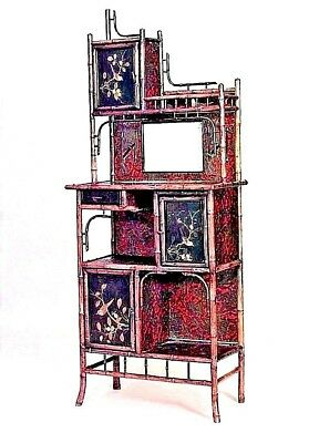 English Victorian Bamboo 3 Door Etagere with Black Lacquered Chinoiserie Decor