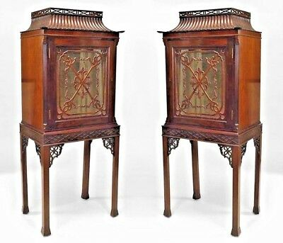 Pair of English Chinese Chippendale Style Mahogany Curio (display) Cabinets