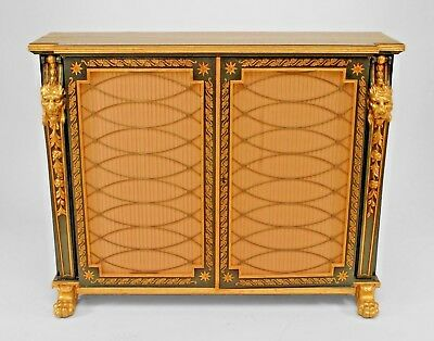 English Regency dark green painted and gilt trimmed 2 door commode with lion hea