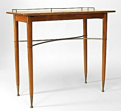 Pair of English Art Moderne 1940s Walnut Console Tables with Brass Stretcher