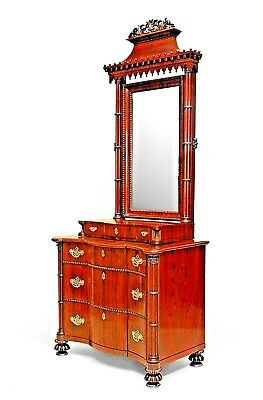 English Regency Style Rosewood Gothic Design Chest of Drawers with Pagoda Mirror