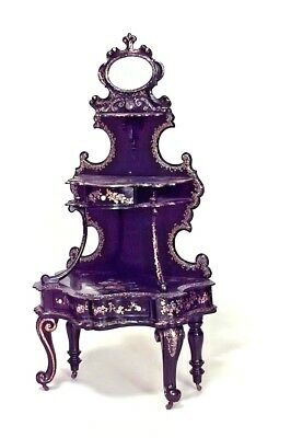 English Victorian Papier Mache Pearl Inlaid Black Lacquered 3 Tier Etagere