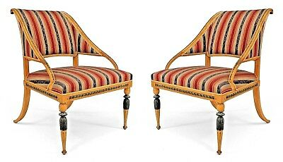 Pair of Swedish Neoclassic Patinated Composition & Birch Arm Chairs