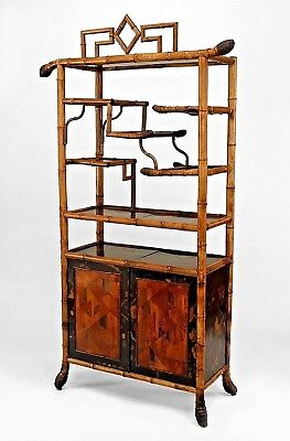 Bamboo (English Victorian) Etagere with 2 Inlaid Doors and Black Lacquered Decor