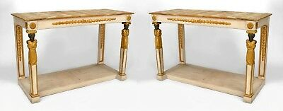Pair of Italian Neo-classic Parcel Gilt & White Painted Console Tables