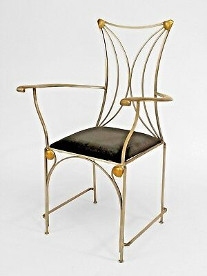 French Art Deco Style Steel and Brass Arm Chairs with Slip Seats (PRICED EACH)