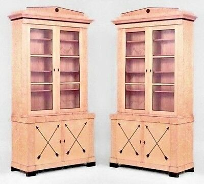 Pair of Swedish Biedermeier ebonized & maple bookcase cabinets with a pair of gl