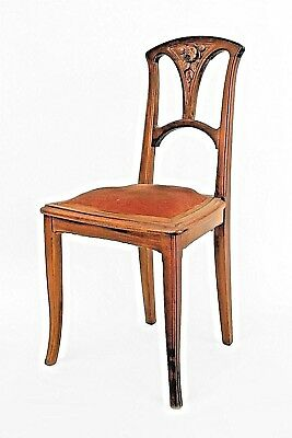 French Art Nouveau Walnut Open Back Side Chair