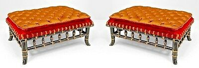 Pair of French Victorian Faux-Bamboo Design Ebonized and Gilt-Trimmed Foot Stool