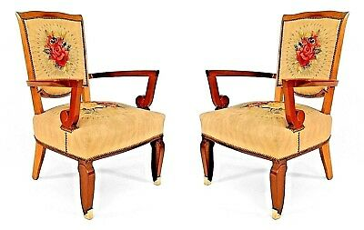 Pair of French Art Deco Mahogany Open Arm Chairs with Bronze Feet