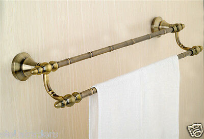 Stunning New 24 inches Double Towel Rail Modern Antique Brass Gold Finish (Cane)