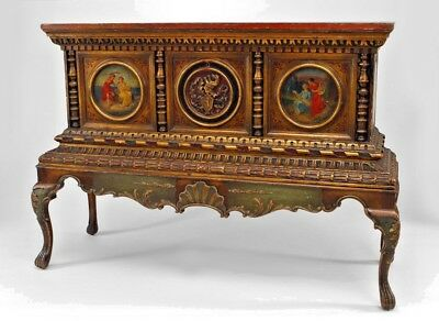 Italian Renaissance style polychromed & parcel gilt chest on stand with round pa