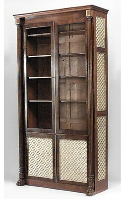 English Regency mahogany bookcase with reeded columnar angles flanking glazed do