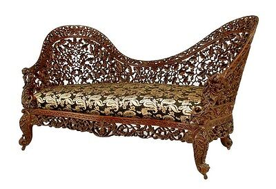Asian Burmese Style Rosewood Settee with Carved Filigree Back and Front Apron