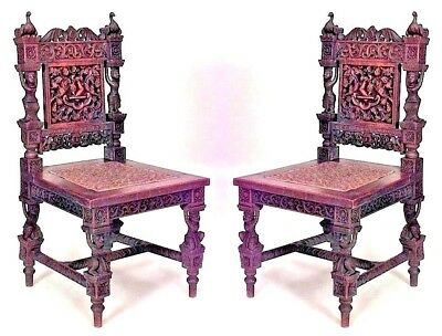 Pair of Asian Burmese Style (19th Cent) Teak Carved Side Chairs with Figures