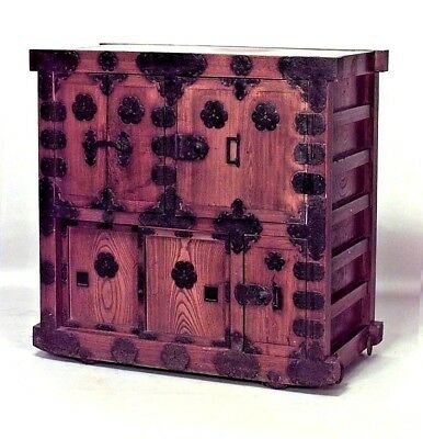 Asian Japanese/Korean style (19th Cent) oak chest with wrought iron hardware