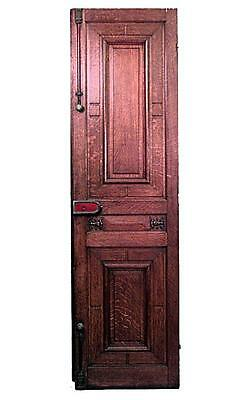 Pair of English Victorian oak carved panelled doors with locks and 2 small carve