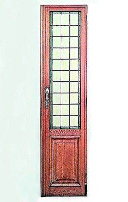 Pairs American Mission Oak Framed Doors with Amber Leaded Glass Panels