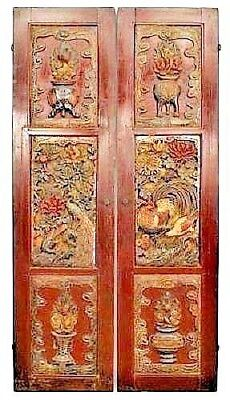 Pair of Asian Chinese style red painted doors inset with pierced & relief carved