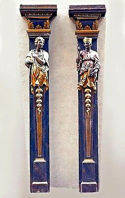Pair of Italian Rococo style (19th Cent) polychromed pilasters with life size re