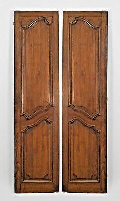 Pair of French Provincial style (19th Cent) walnut panelled doors with painted b
