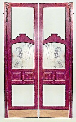 2 Pair of American Victorian oak full length saloon doors with bevelled glass ce