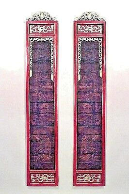 Pair of Asian Chinese Style (19th Cent.) Red and Gold Lacquered Pilaster Panels