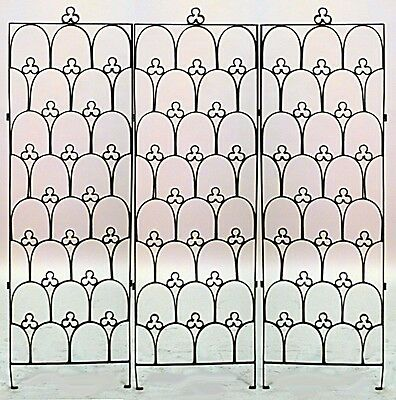 English Gothic Style (19/20th Cent) Black Iron 3 Panel Gate with Arch Design