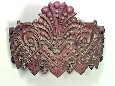 2 Carousel style (19th Cent) stripped and carved wall plaques (valance) with cro