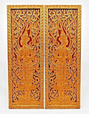 2 Pair of Asian Thai style (19/20th Cent)  red and gold painted and carved door