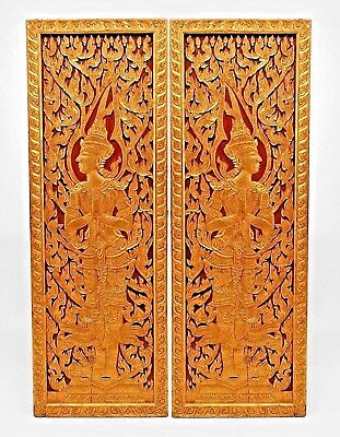 Pairs of Asian Thai Style (19/20th Cent) Painted Carved Doors (PRICED PER PAIR)