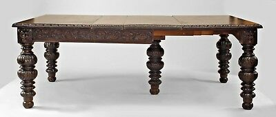 English Victorian Renaissance Revival Dark Stained Oak Extension Dining Table