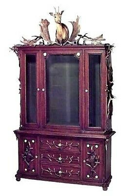 Continental (German) horn and oak bookcase cabinet with deer head carved doors a