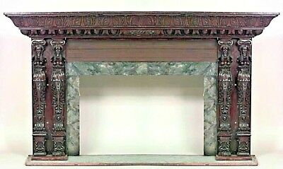 Italian Renaissance style (19th Cent) large carved walnut fireplace mantel with