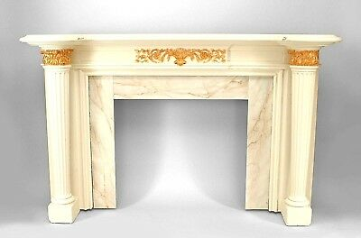 English Georgian style painted fireplace mantel with tapered and fluted column s