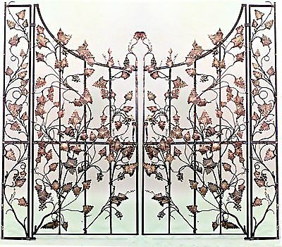 Pair of Italian Neo-classic Style Iron & Gilt Decorated Gates