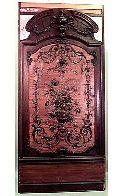 French Regence style oak carved monumental wall panel with pink enameled copper