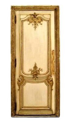 Pair of French Louis XV style (19th Cent) white and gold painted and carved door
